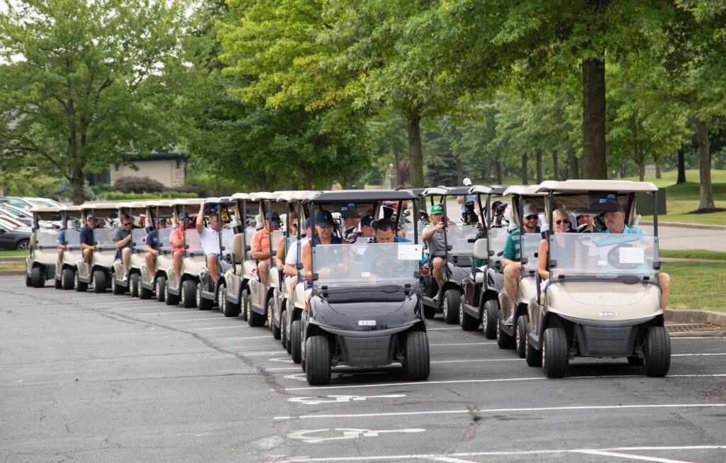 2021 Annual JCF Golf Outing - golf carts lined up