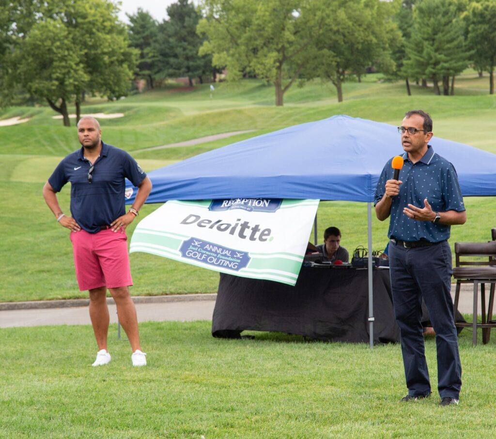 2021 Annual JCF Golf Outing - speaker speaking to crowd